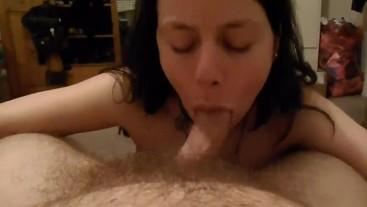 POV blowjob by sexy brunette