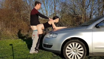 gym girl picked up by stranger and fucked outdoors...short version