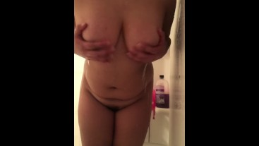 showing my ass and tits in the shower