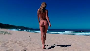 TRAVEL NUDE - Sasha Bikeyeva Undressed On The Public Beach Doniños in Spain