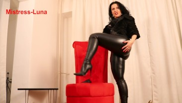 Very hot leather teasing by Mistress Luna
