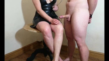 Chastity Release - Small penis husband licks his cum from my feet