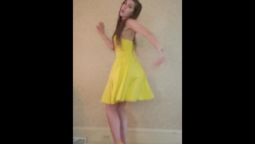 Dance & Strip from yellow dress and heels to Bad Idea by Ariana Grande