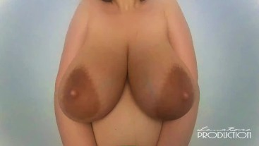 Big natural milking tits bouncing in slow motion