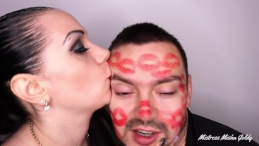 Covering Alex with strong red lipsticks kisses all over his face!