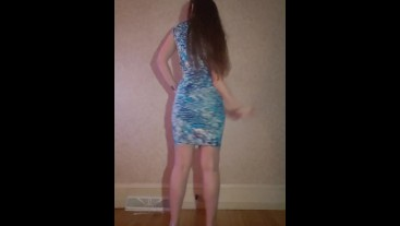 Amateur Strip to nude ♡tight dress & high-heels