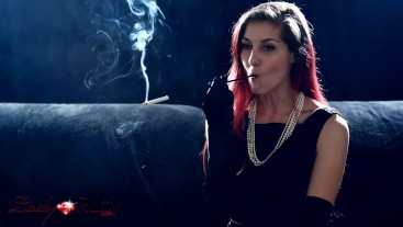 Satin Dress and Cigarette Holder