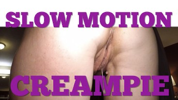 Hotwife Creampie drip in slow motion from old man and cuckold films