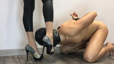 Cum high heels Shoejob