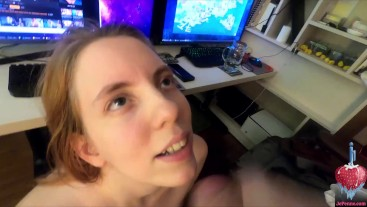Can't work because my pretty girlfriend is giving me a blowjob with cum dripping down her cute face