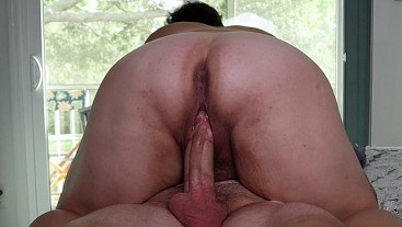 BBW wife makes me cum quick riding me. She gets an orgasm and creampie. I cum inside her.
