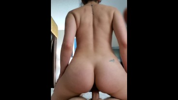 Housewife rides young boyfriend in reverse cowgirl