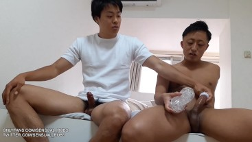 Straight Youtuber Hirotaka and Japanese Pornstar Igaken hang out before having hot fun with sex toys
