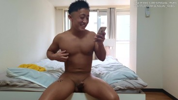 Straight popular Japanese Youtuber strips his clothes and masturbates on camera