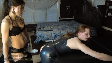 Mistress Mercer Bad Dragon Pegging for Latex Sissy by Mistress