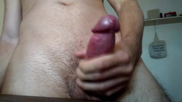 Big dick Twink jerks off after studying double CUMSHOT in slow motion