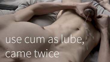 Thick uncut cock use cum as lube, came a second time