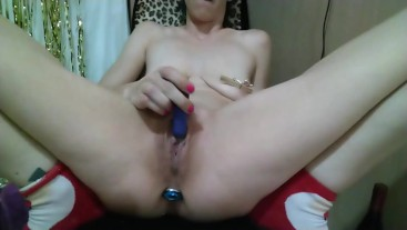 Masturbation with anal plug, vibrators, spiked dog bone, large dildo, and Pissing