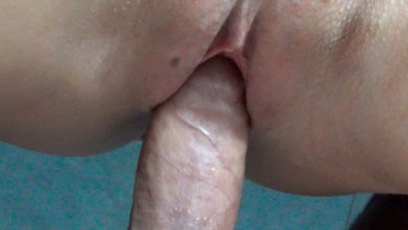 Up Close Stepsister tight pussy fuck, cum onto pussy - Amateur Couple