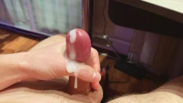 Young Cock Cums a Lot of Sperm Closeup