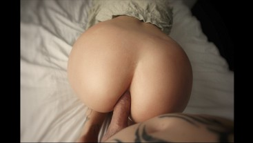 very tight ass is pushed on a dry cock!