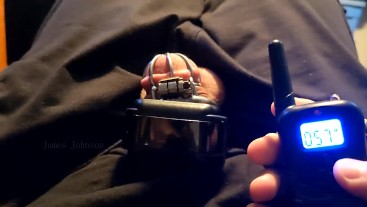 Sub uses a Shock Collar on his Dick while in Chastity