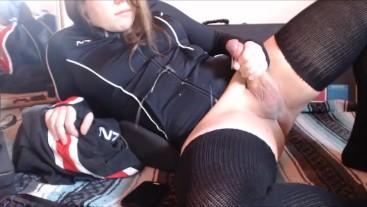 Femboy Shepard Sprays Cum On Uniform