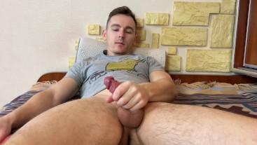 Wet Guy Jerking Hot Uncut Cock Cum Moaning