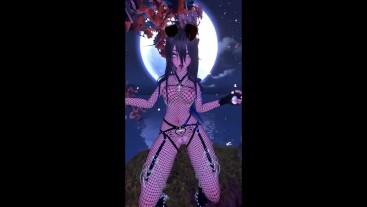 puppy girl dancing in the moonlight