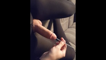Crossdresser in Stockings tries Sounding